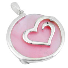 16.86cts pink pearl round 925 sterling silver heart pendant a88673 c14588