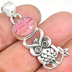 5.02cts pink rhodochrosite inca rose (argentina) 925 silver owl pendant r90490