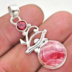 7.12cts pink rhodochrosite inca rose garnet 925 silver horse eye pendant t46407
