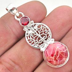 7.12cts pink rhodochrosite inca rose garnet silver tree of life pendant t46386