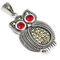 Pink ruby quartz marcasite 925 sterling silver owl pendant jewelry c17184