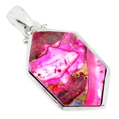 15.68cts pink spiny oyster arizona turquoise 925 sterling silver pendant r81234