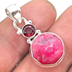 6.97cts pink thulite hexagon red garnet 925 silver pendant jewelry t46473