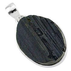 Protector stone black tourmaline raw 925 sterling silver pendant r96711