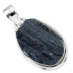 Protector stone black tourmaline raw 925 sterling silver pendant r96741