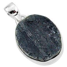 Protector stone black tourmaline raw 925 sterling silver pendant r96742