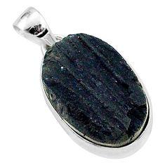 Protector stone black tourmaline raw 925 sterling silver pendant r96744
