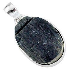 Protector stone black tourmaline raw 925 sterling silver pendant r96745
