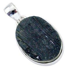Protector stone black tourmaline raw 925 sterling silver pendant r96748