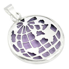 Purple bling topaz (lab) 925 sterling silver pendant jewelry c23170