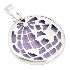 Purple bling topaz (lab) 925 sterling silver pendant jewelry c23174