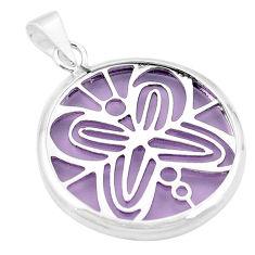 Purple bling topaz (lab) 925 sterling silver pendant jewelry c23175