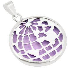 Purple bling topaz (lab) 925 sterling silver pendant jewelry c23183