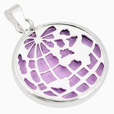 Purple bling topaz (lab) 925 sterling silver pendant jewelry c23185