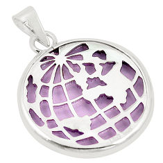 Purple bling topaz (lab) 925 sterling silver pendant jewelry c23192