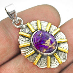 5.16cts purple copper turquoise 925 sterling silver 14k gold pendant t55688
