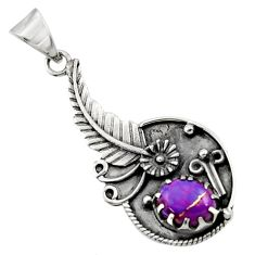 2.77cts purple copper turquoise 925 sterling silver flower pendant d44876