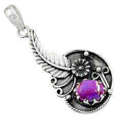 2.62cts purple copper turquoise 925 sterling silver flower pendant d44906