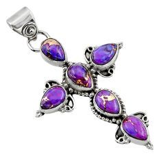 9.55cts purple copper turquoise 925 sterling silver holy cross pendant r47955