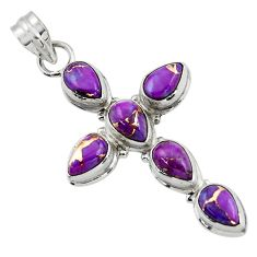 9.68cts purple copper turquoise 925 sterling silver holy cross pendant r47976