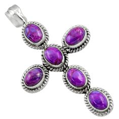 9.13cts purple copper turquoise 925 sterling silver holy cross pendant r48010
