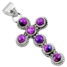 6.76cts purple copper turquoise 925 sterling silver holy cross pendant r48011