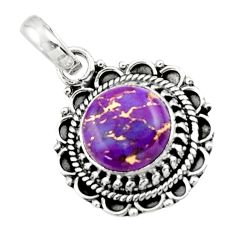 3.98cts purple copper turquoise 925 sterling silver pendant jewelry r44731