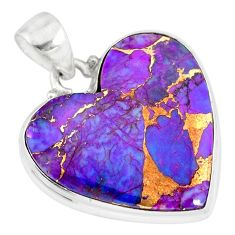 14.65cts purple copper turquoise 925 sterling silver handmade pendant r83207