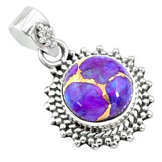 3.99cts purple copper turquoise 925 sterling silver pendant jewelry t14530