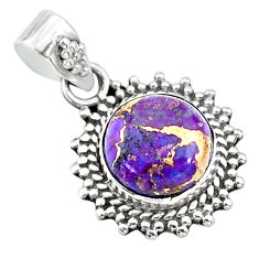 3.96cts purple copper turquoise 925 sterling silver pendant jewelry t14532