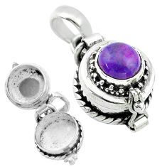 2.35cts purple copper turquoise 925 sterling silver poison box pendant t52601