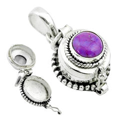 2.25cts purple copper turquoise 925 sterling silver poison box pendant t52603