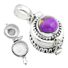 2.15cts purple copper turquoise 925 sterling silver poison box pendant t52605