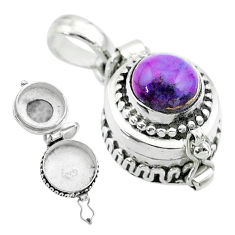 2.23cts purple copper turquoise 925 sterling silver poison box pendant t52609