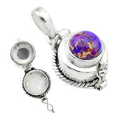 2.01cts purple copper turquoise 925 sterling silver poison box pendant t52614