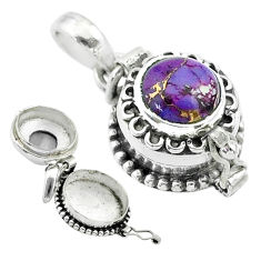 2.31cts purple copper turquoise 925 sterling silver poison box pendant t52619