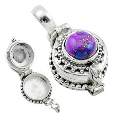 2.23cts purple copper turquoise 925 sterling silver poison box pendant t52620