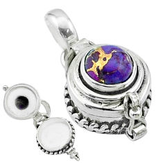2.22cts purple copper turquoise 925 sterling silver poison box pendant t52622