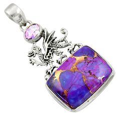19.50cts purple copper turquoise amethyst 925 silver dragon pendant d41732