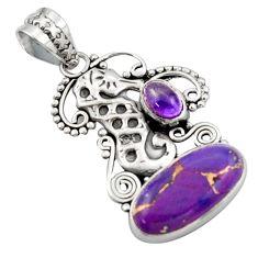 7.24cts purple copper turquoise amethyst 925 silver seahorse pendant d46614