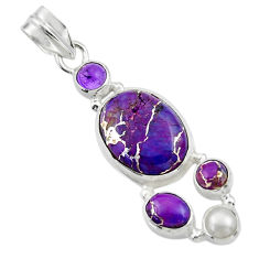 15.16cts purple copper turquoise amethyst 925 sterling silver pendant r44654