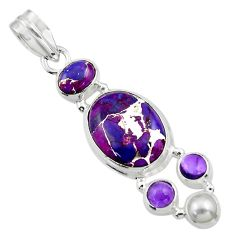 14.81cts purple copper turquoise amethyst 925 sterling silver pendant r44669