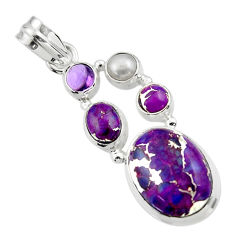 15.02cts purple copper turquoise amethyst 925 sterling silver pendant r44670