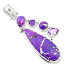 14.72cts purple copper turquoise amethyst 925 sterling silver pendant t10641