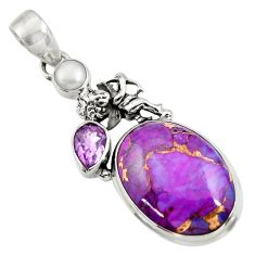 16.06cts purple copper turquoise amethyst pearl 925 silver angel pendant d41748