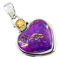 12.72cts purple copper turquoise citrine heart sterling silver pendant r43908