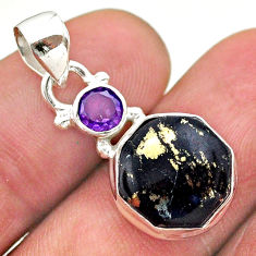 6.26cts pyrite in magnetite (healer's gold) amethyst 925 silver pendant t46481
