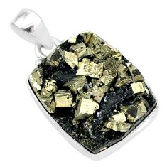 18.15cts pyrite on basalt matrix 925 sterling silver handmade pendant r85642