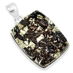 25.00cts pyrite on basalt matrix 925 sterling silver handmade pendant r85645