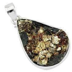 17.55cts pyrite on basalt matrix 925 sterling silver handmade pendant r85648